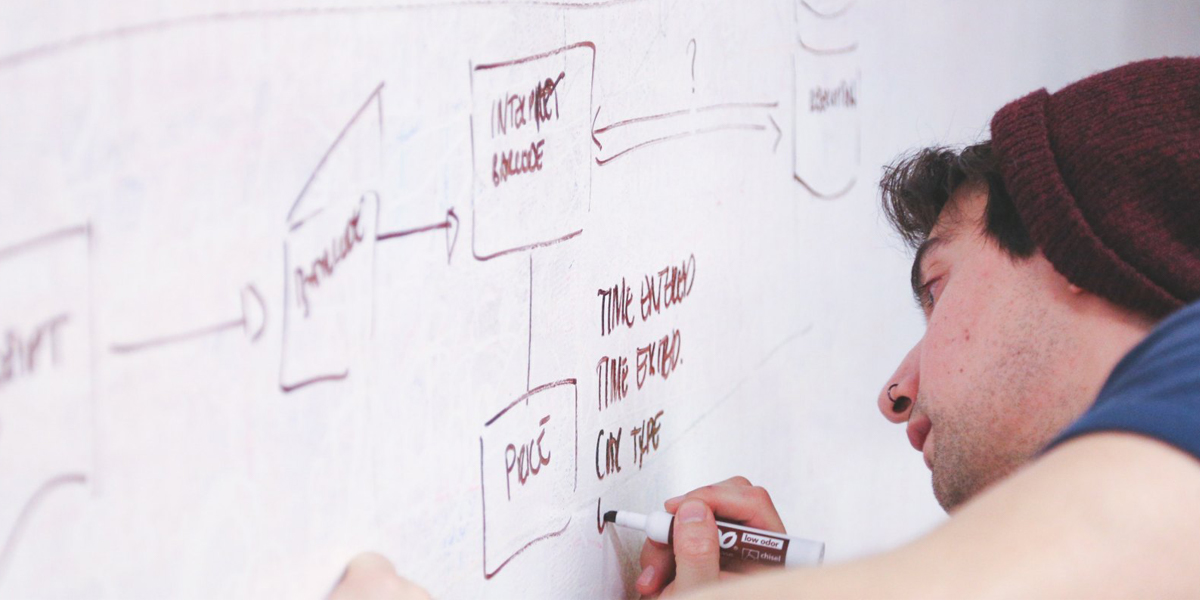 A person writing on a whiteboard