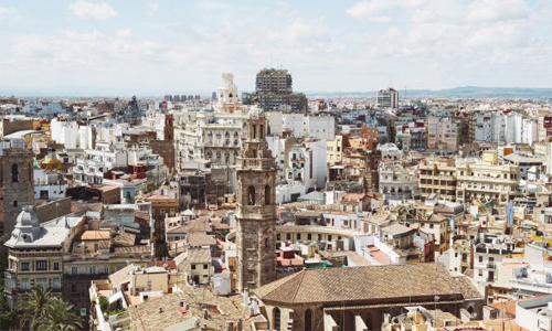 A view over buildings in Spain