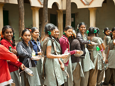 Students queuing for lunch