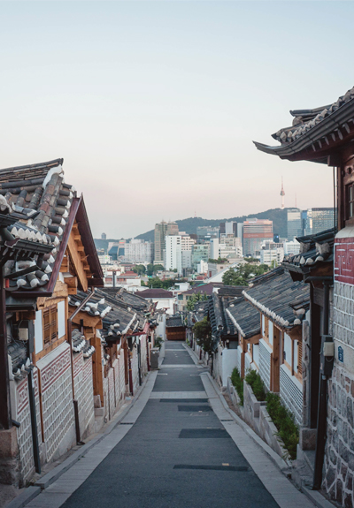 A sloping street and city view in South Korea
