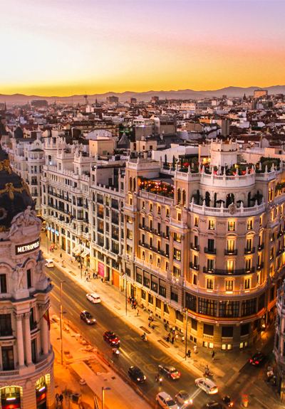 Buildings and a sunset in Madrid