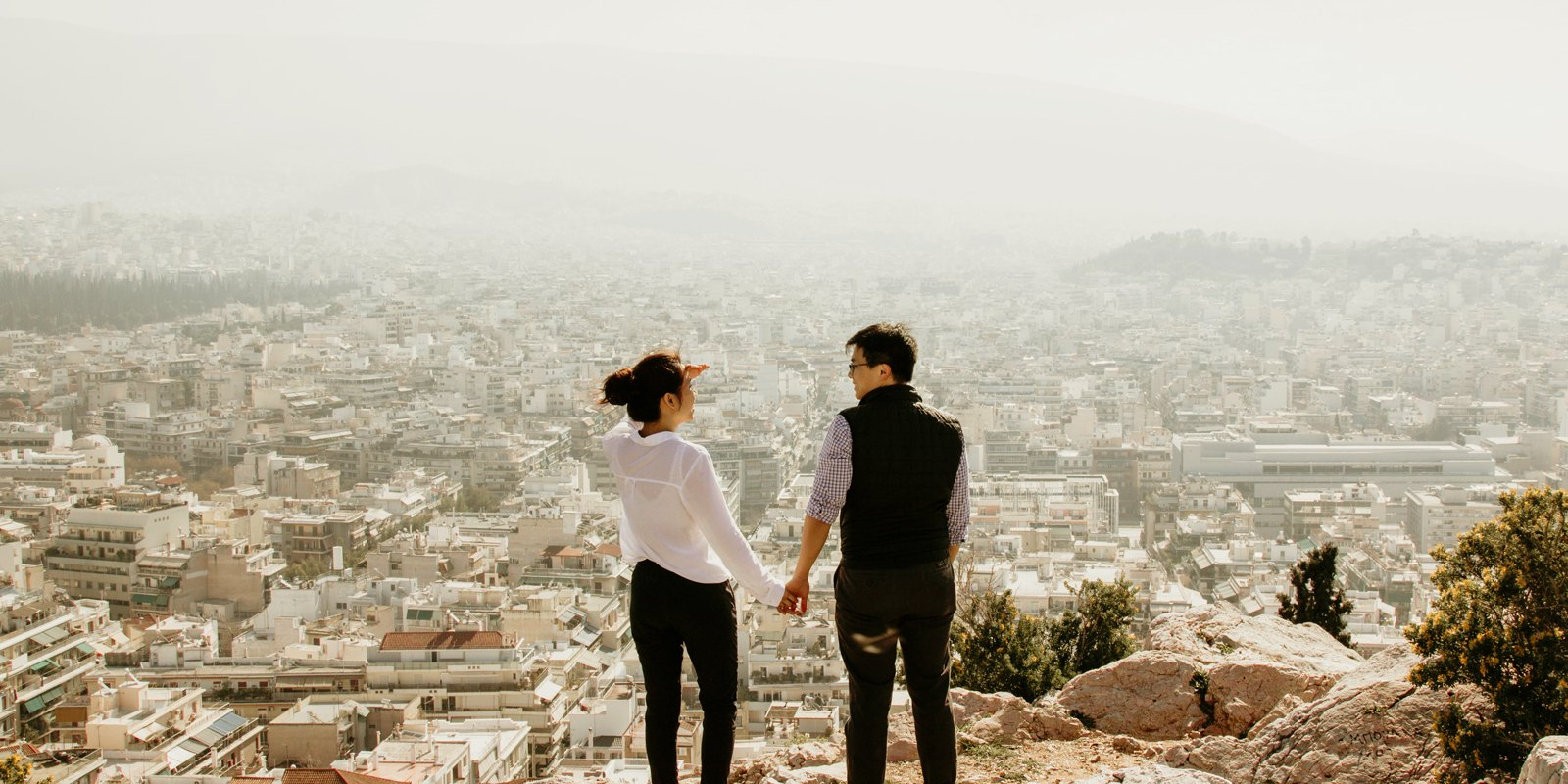 A couple looking at the view in Athens