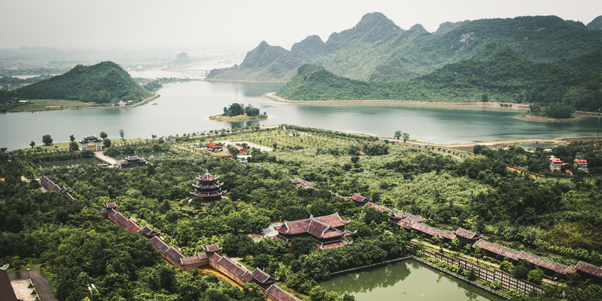 Mountains, lake and greenery in Vietnam