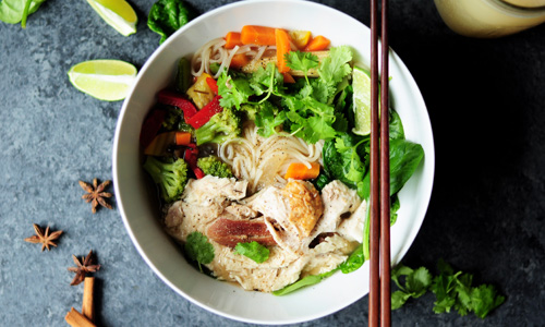 A bowl of pho