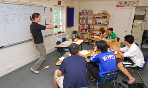 A TEFL teacher teaching a small class