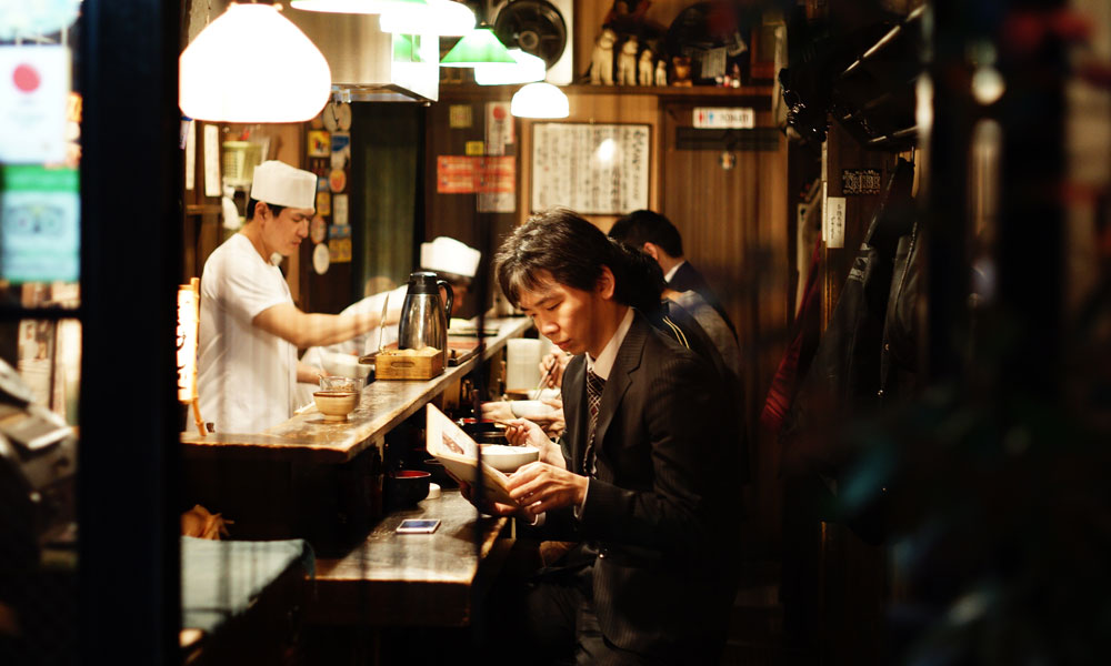 People eating at a restaurant in Japan