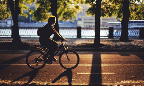 A person cycling in Moscow