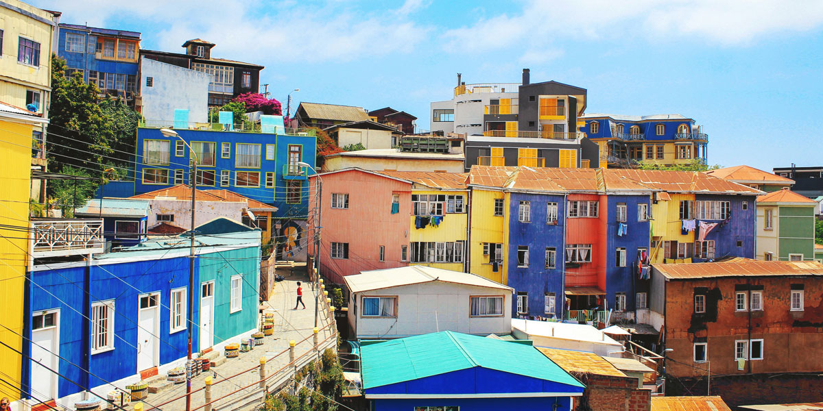 Colourful buildings in Chile
