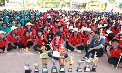 Huge group of Thai students in school yard